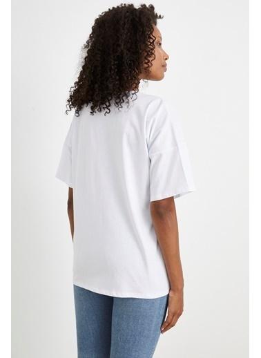 Curly Beyaz, Tek Cepli Oversıze T-Shırt Beyaz